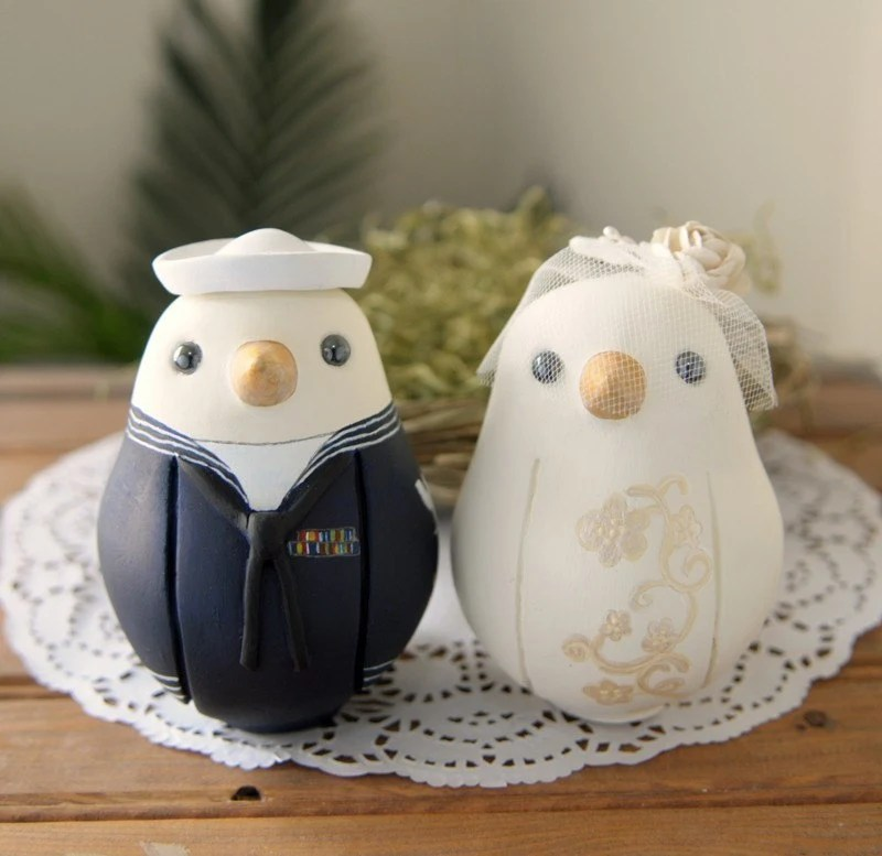 Custom Wedding Cake Topper - Large Military Love Birds with Hand Painted Bouquet
