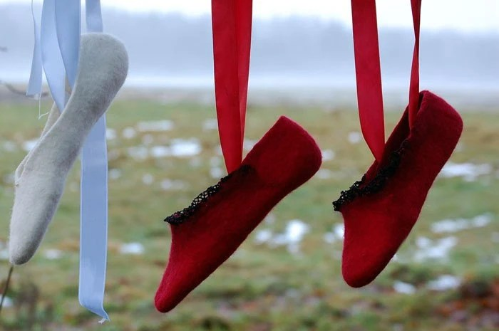 Felted slippers RED Pointe Shoes
