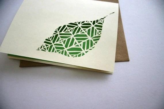Hand cut leaf Card