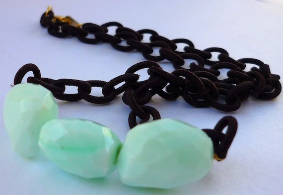 Necklace Mint Green Peruvian Opal Chocolate Brown fabric Chain Handmade By lushbaubles On Etsy