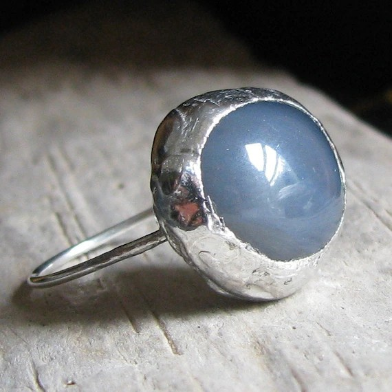 Character Ring - Grey Blue Agate