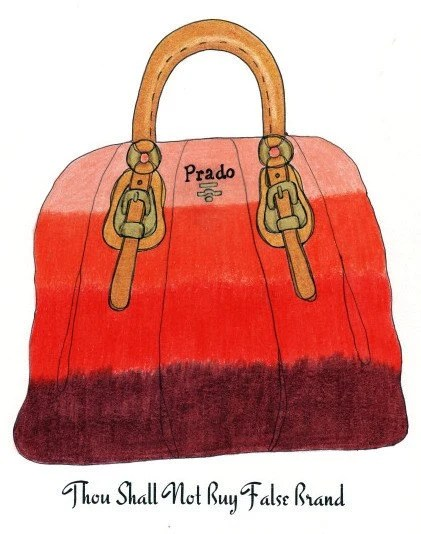 Fashion Commandment, Not Buy False Brand, Prado Ombre Handbag Illustration