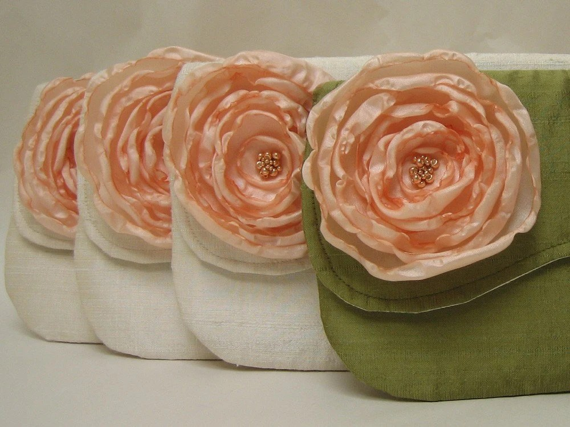 Silk Clutch Cream or Green with Peach Flowers - Custom Options - Peaches n Cream