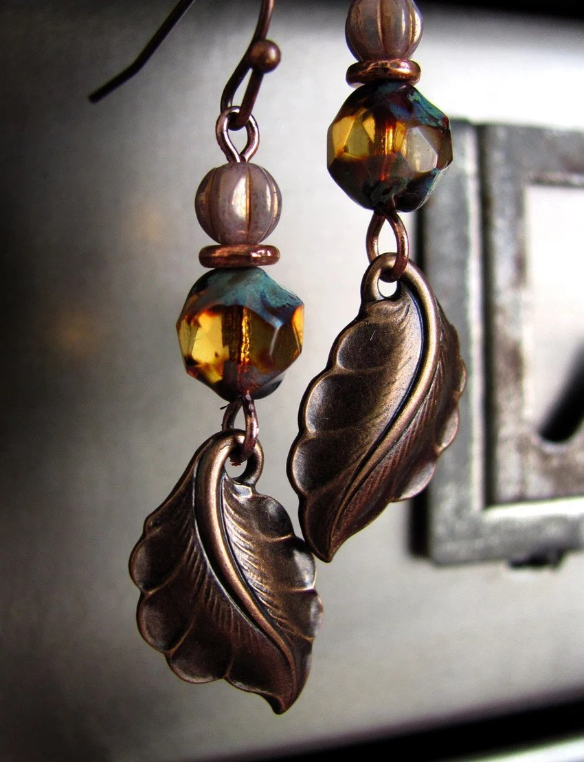 Rustic Foliage Earrings with Brass Leaves