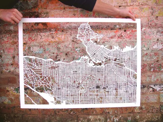 vancouver mapcut on white