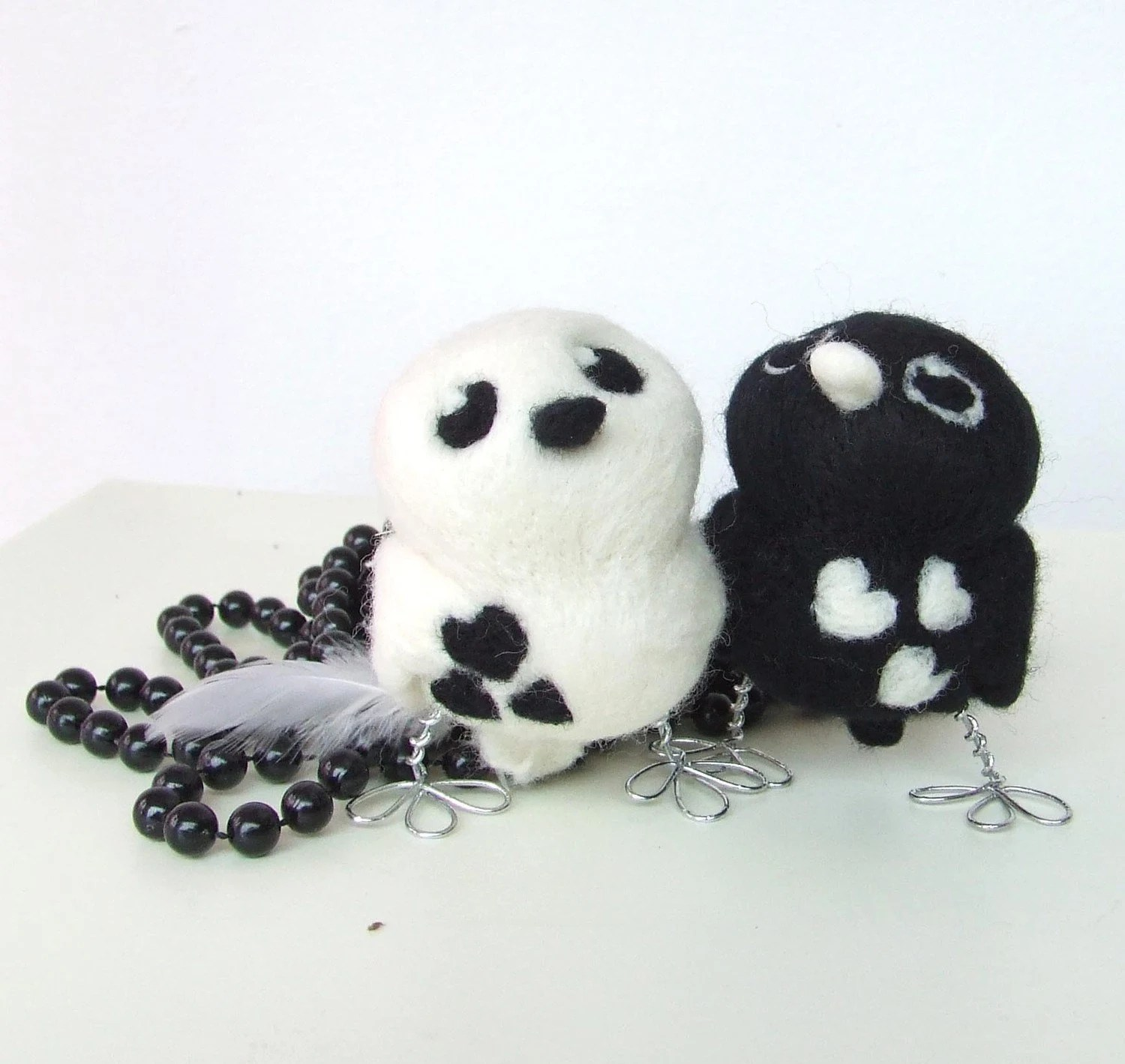 Monochrome Opposites Black and White Tweet Needlefelted Wedding Cake Topper with Silver Legs