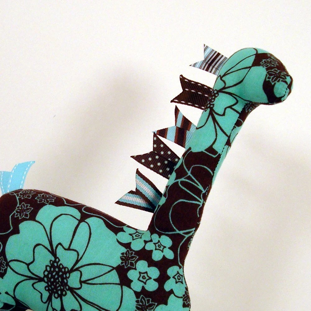 Handmade Stuffed Giraffe with Ribbon Accents Teal and Brown Flowers