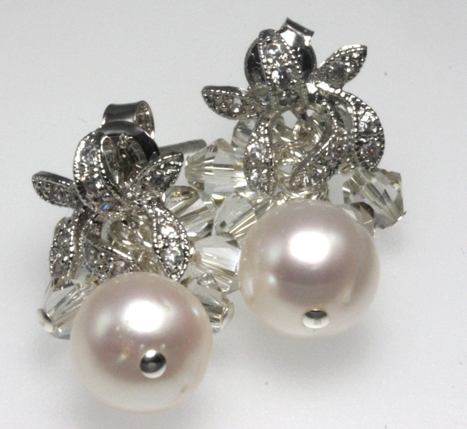 Amanda Earrings- Freshwater Pearls and Swarovski Crystals