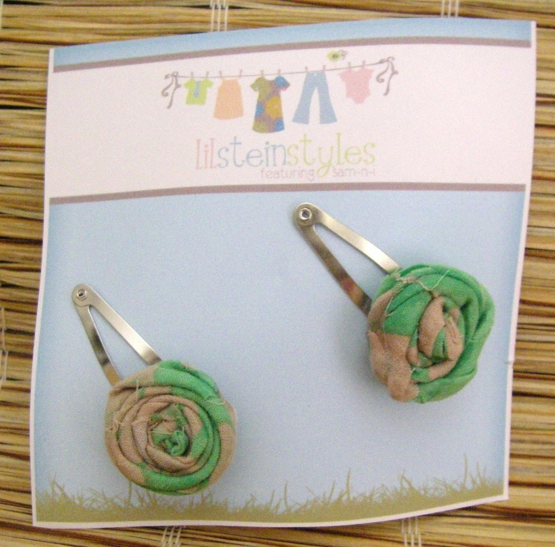 Cute little funky scrappy green and taupe fabric rosette clips