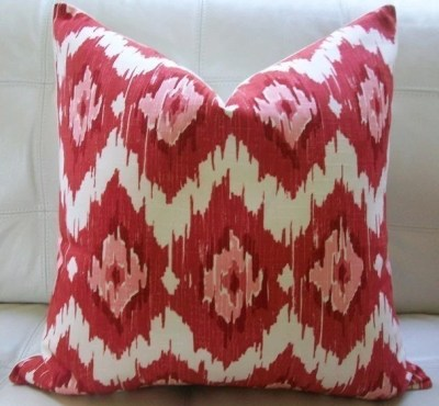 NEW Decorative Designer Pillow Cover 18X18 - Duralee IKAT Print in Red and Pink on an Ivory Background