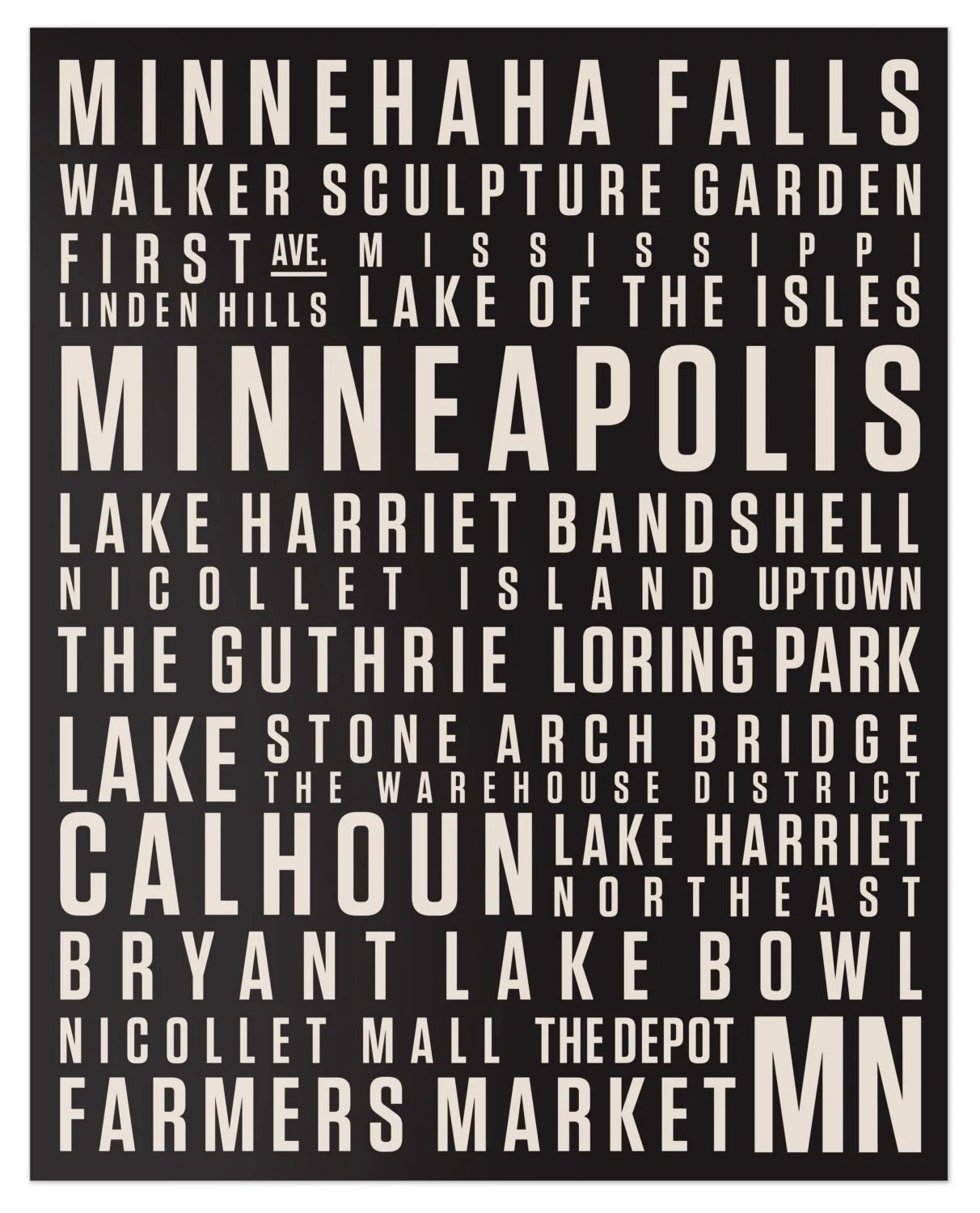MPLS Canvas Print // 16x20 Beige on Black // Locality