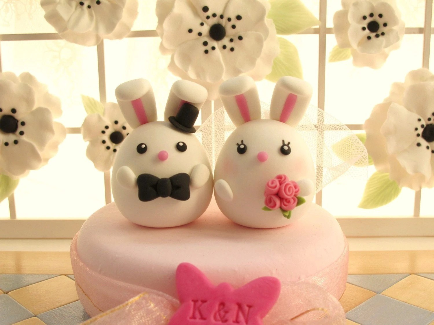 PROMOTION-------LOVE ANGELS Wedding Cake Topper-love rabbits