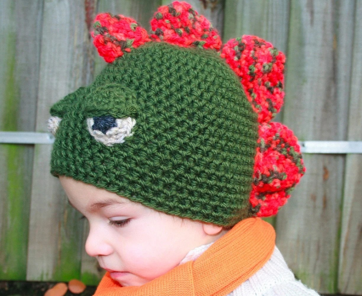 PDF PATTERN Crochet boys dinosaur hat includes 4 sizes from newborn to adult - you are welcome to sell your work from this pattern