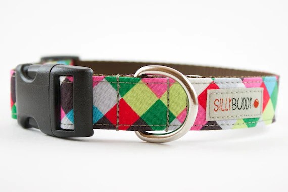 Colorful Cubes Dog Collar