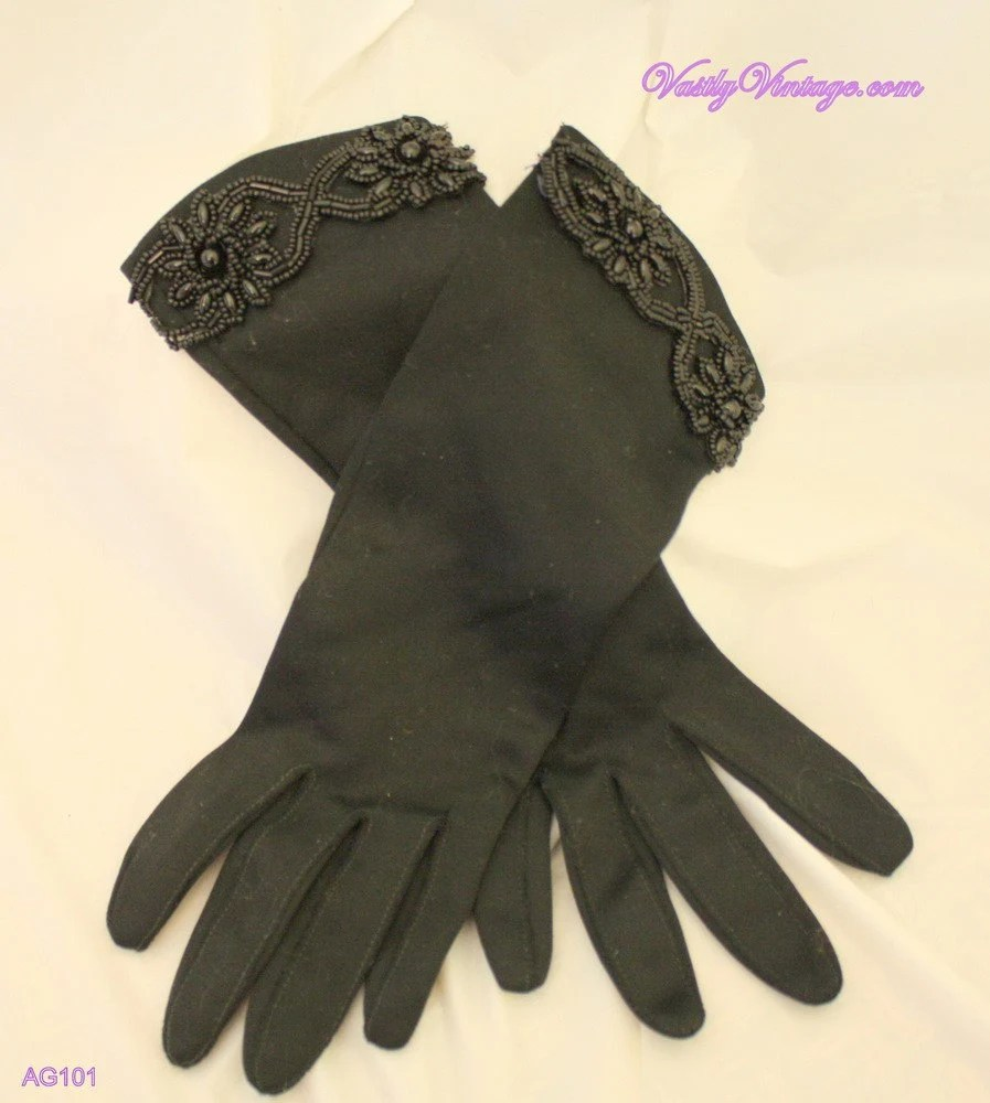 Vintage Black Nylon 3/4 Gloves with Beading Detail