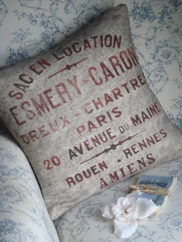 Reproduction Vintage Grain Sack Linen and Burlap Pillow Slip