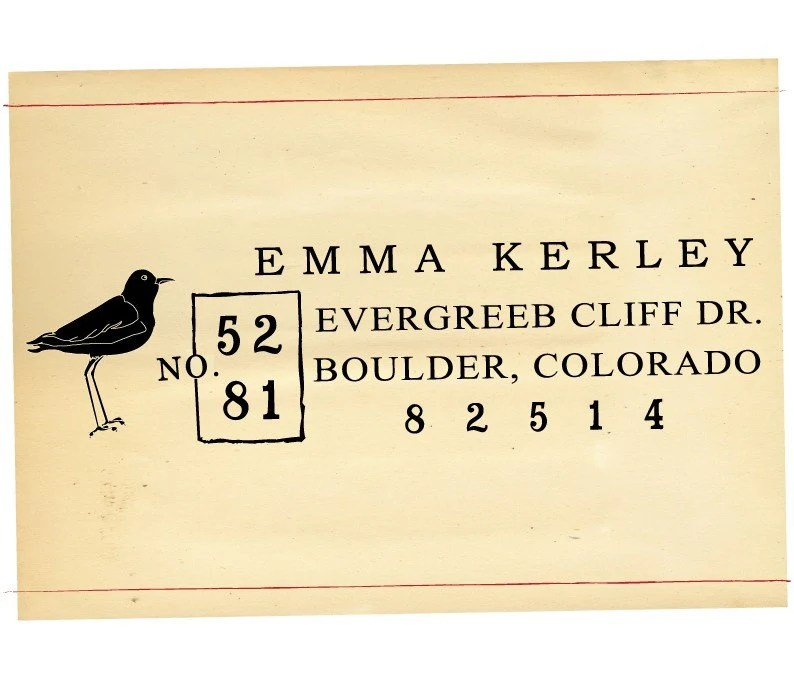 Self Inking Custom Rubber Address Stamp Apothecary Bird - 924