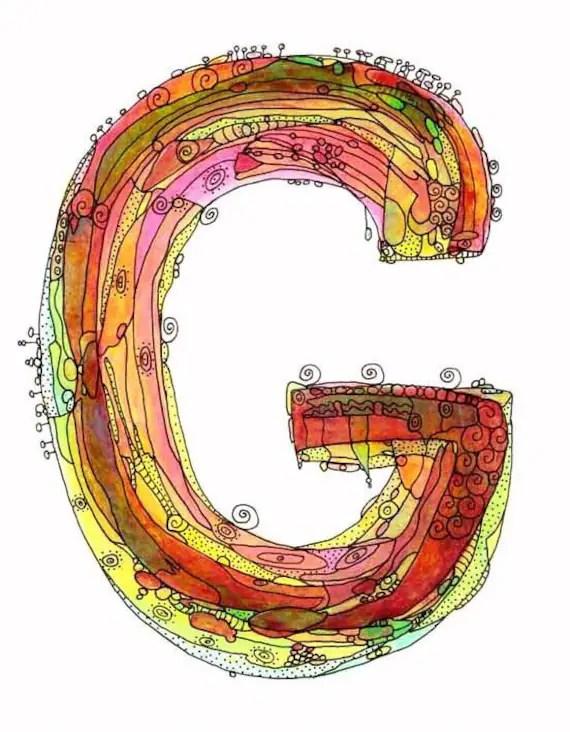 "Whimsical letter G funky Art Print  ""It's a Beauty"""