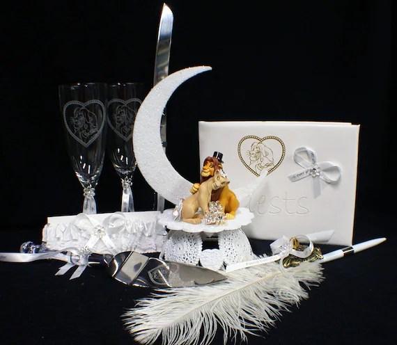 Lion King DISNEY Wedding Cake Topper LOT Glasses Knife guest book