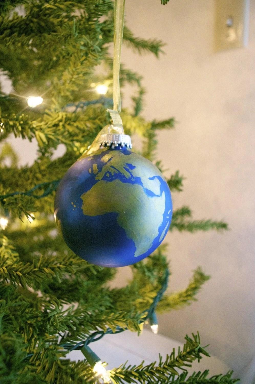 Peace on Earth / hand painted globe