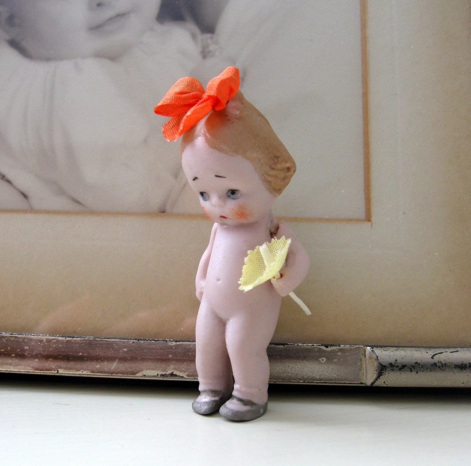 Antique German Hertwig Bisque Doll with Hair Bow