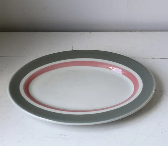 vintage 1950 ON THE HOUSE platter. Pink and grey Madoc by Shenango China.