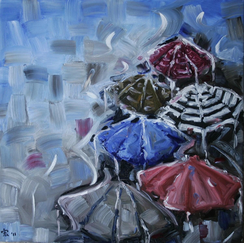 Umbrellas - original oil painting
