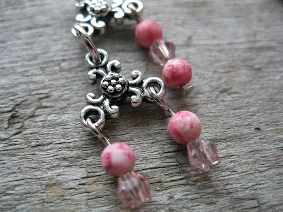 Pink and Silver Chandelier Earrings