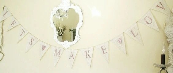 Lets Make Love Glitter Burlap Banner