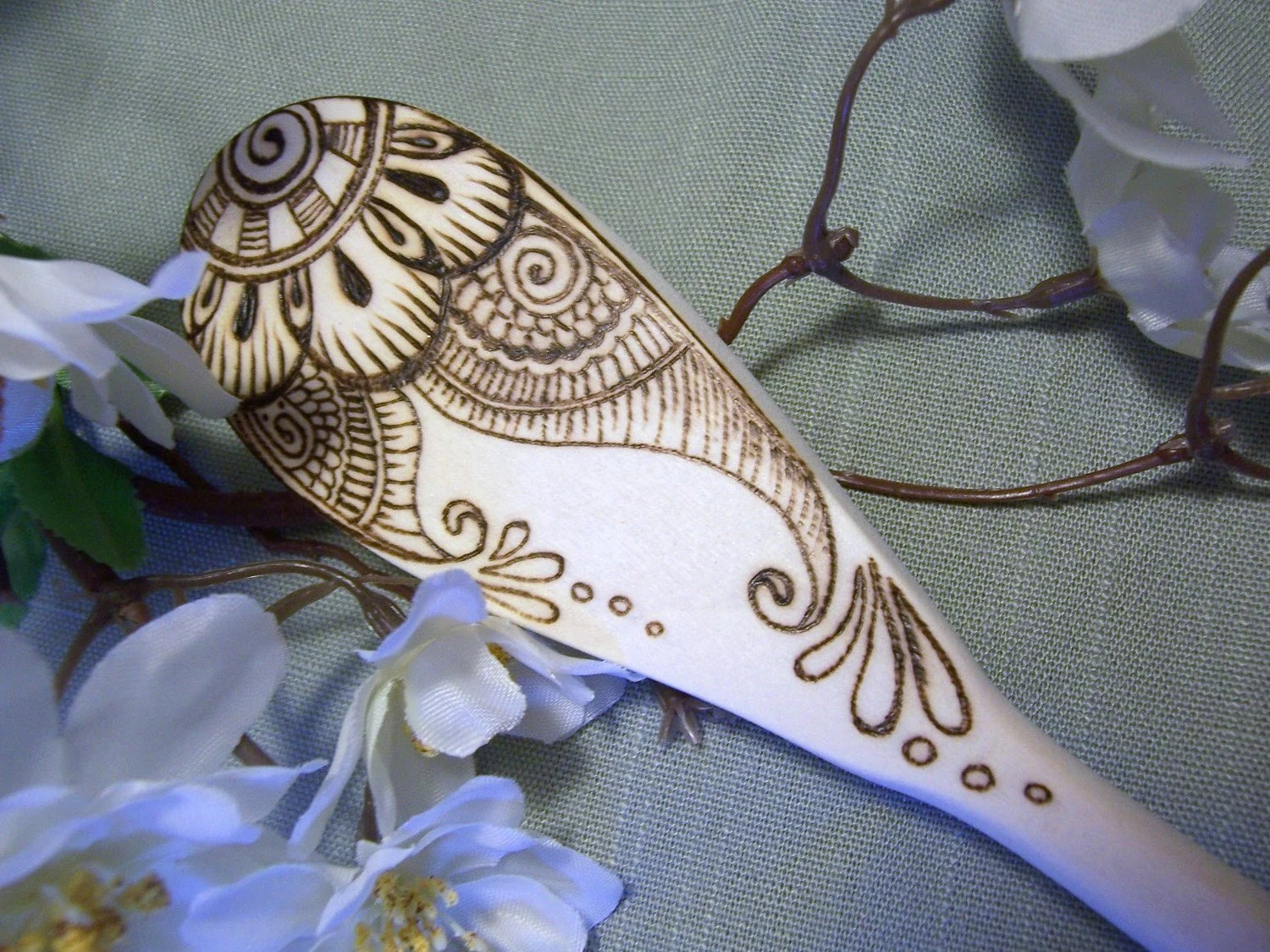 Henna Daisy Wedding Spoon - Made to Order