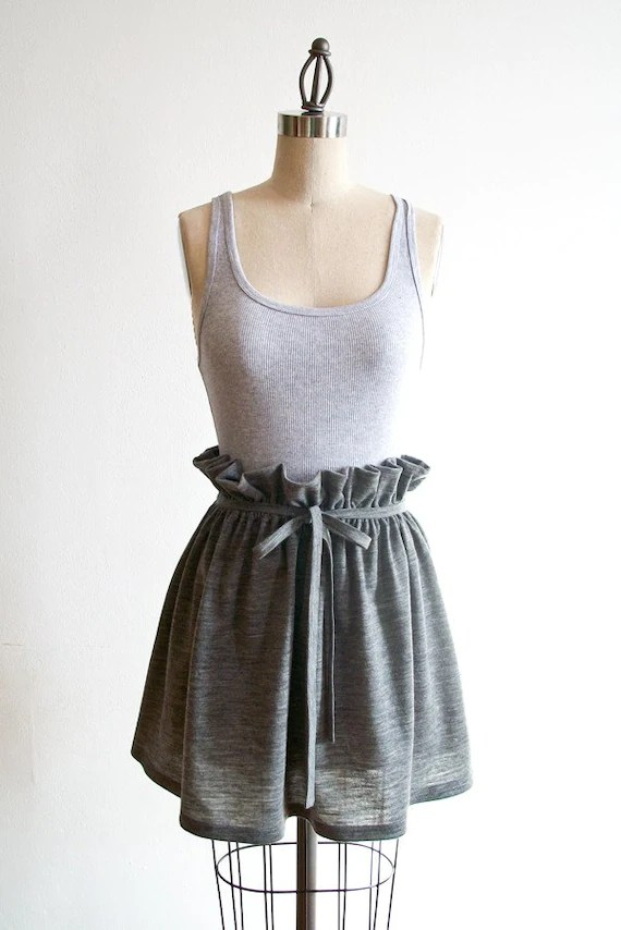 Organic Wool Jersey Short Skirt in Heather Gray - Perfect Fit Guaranteed