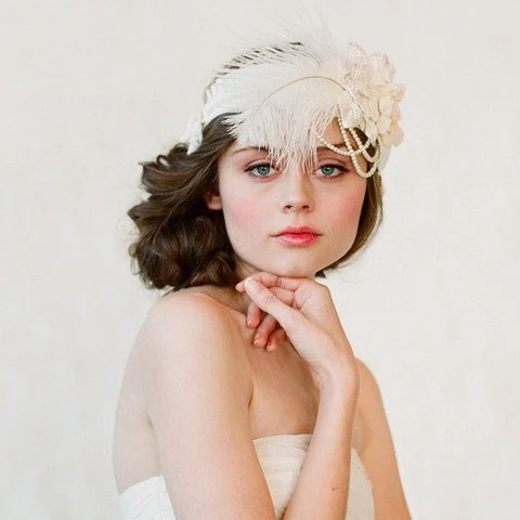 Flapper inspired bridal headband - Style 148 - Made to Order