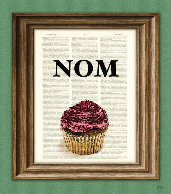 Super Cupcake Nom food word altered art dictionary page illustration book print