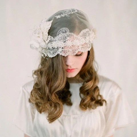Vintage inspired lace bridal cap - Style 117 - Made to Order