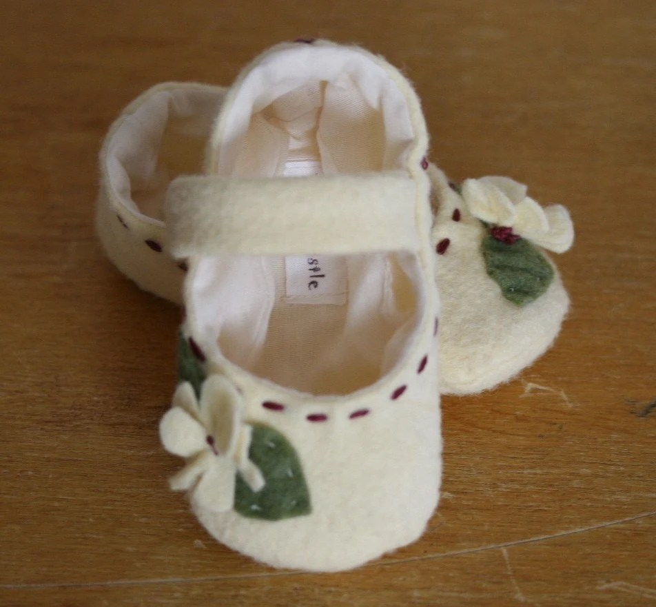 Ivory Wool Mary Jane Booties