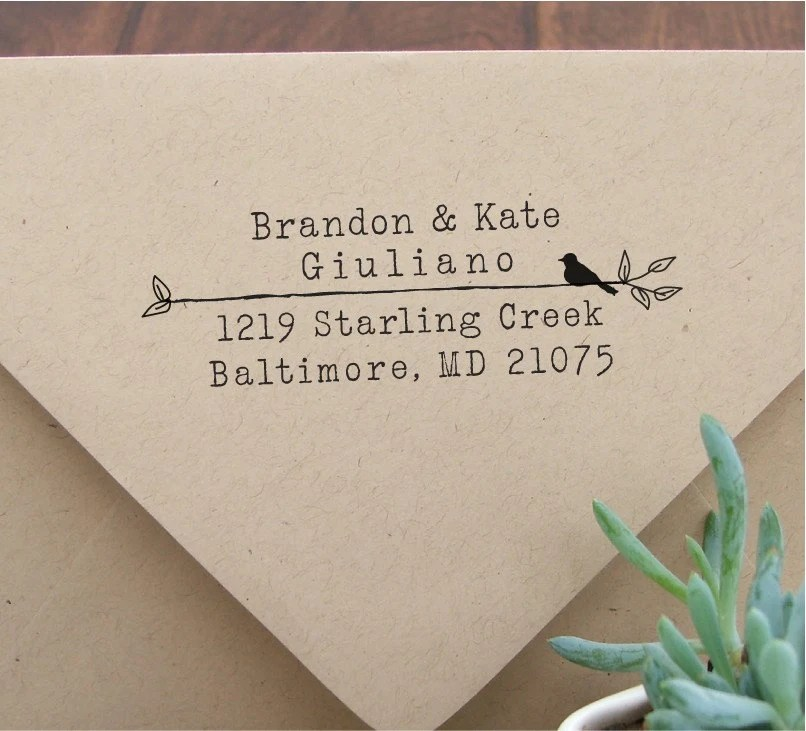 Custom Wood Handle Address Stamp Type & Bird