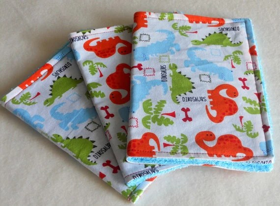 dinosaur dino baby boy burp cloths handmade