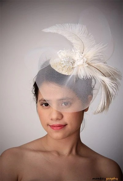 L'AMANTE - Vintage inspired bridal hat headdress WEDDING fascinator