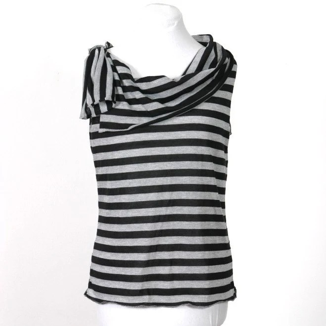 Marci - black and grey stripe tank top