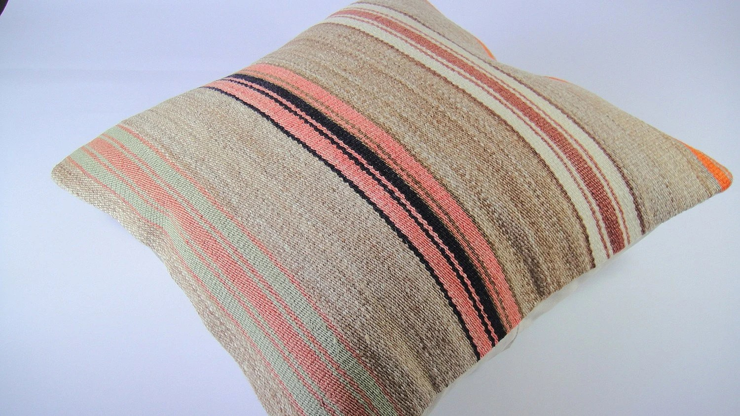 Antique Turkish Kilim Pillow Cover - Hand Embroidered - 16x16 inch