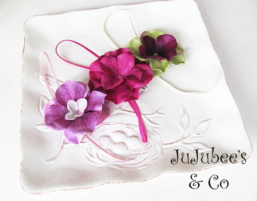 Pinot Noir Grape Hydrangea Flower Headband Collection Photography Props Weddings Flower Girls Newborn Infants Teens Adults