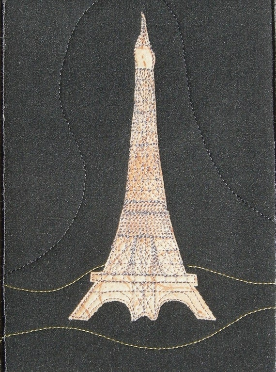 Eiffel Tower at Night Landscape Quilted Fabric Postcard Art Quilt-RSRVD for JeNai