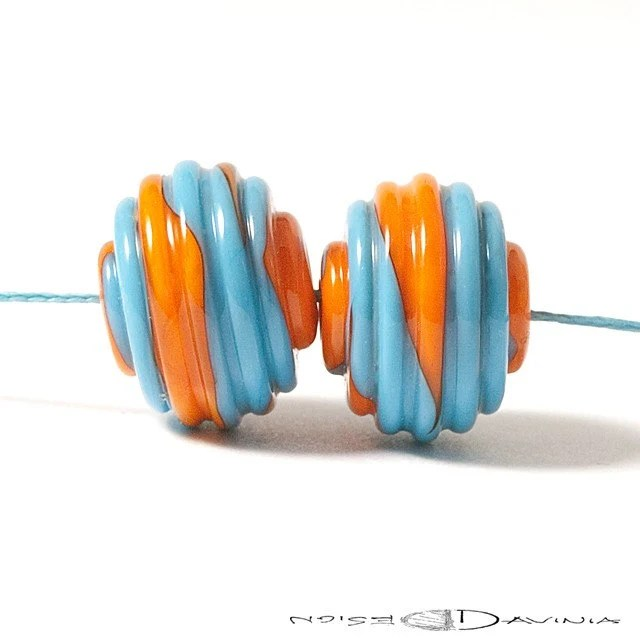 View Receipt  Turquoise and Orange Ribbed Lampwork Glass Beads (2) - DaviniaDesign