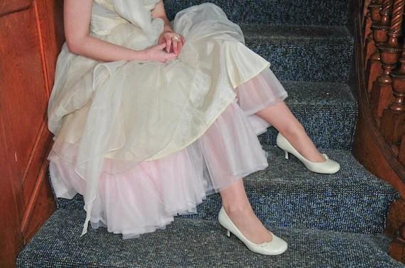 "SAMPLE SALE - Pale Pink Retro Girl 3-Tier Soft Chiffon Crinoline - 29"" inches"