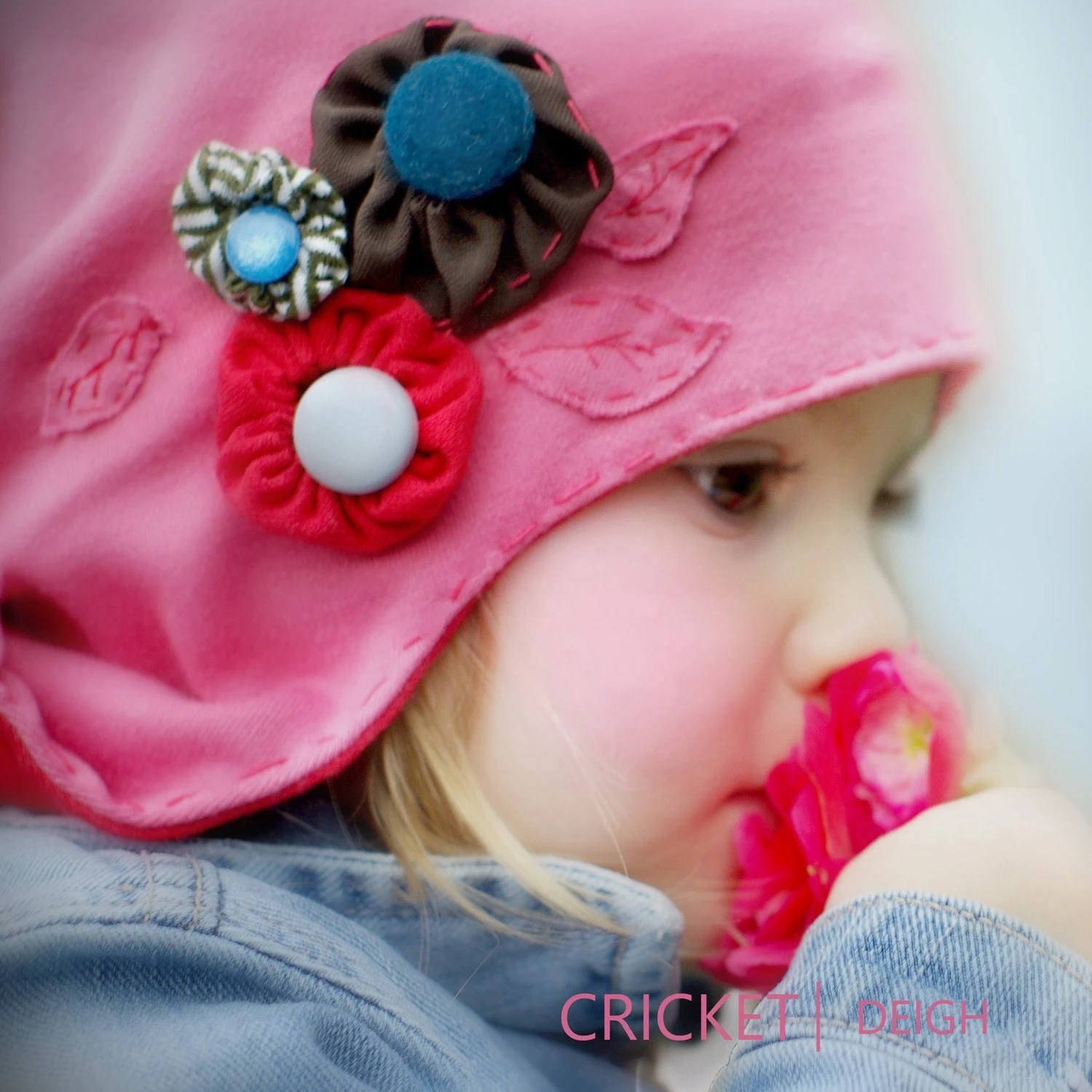baby toddler pink hat flowers