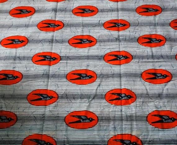 Little Birds Batik Genuine wax print 100 per cent cotton - 1 YARD