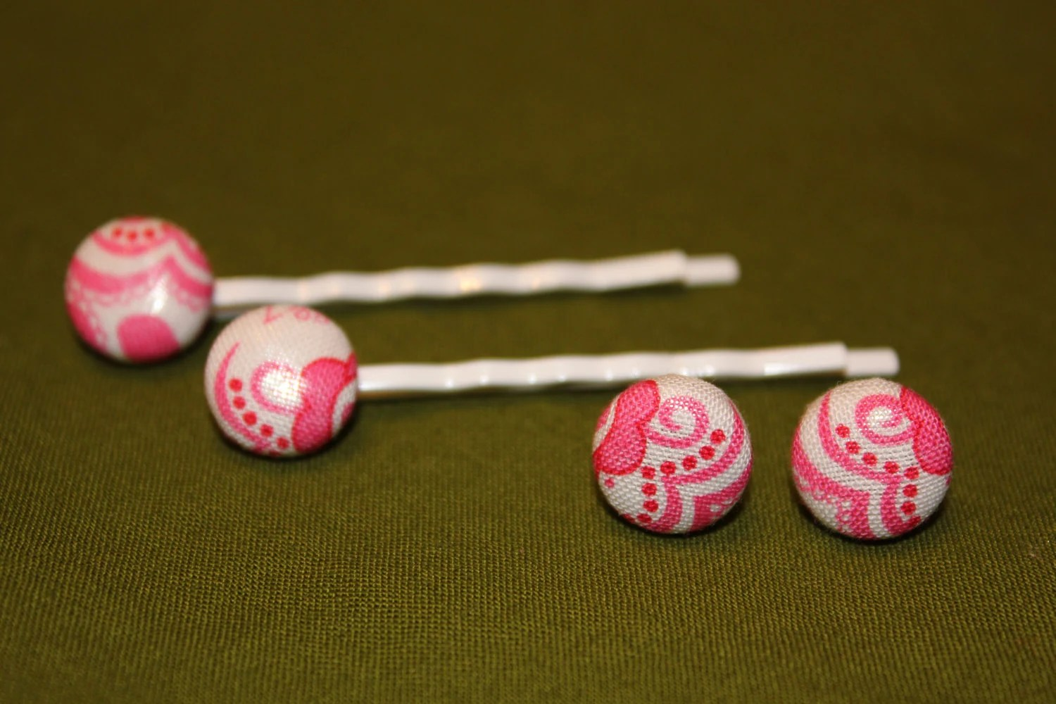 Set of Pink Fabric Button Earrings & Bobby Pins