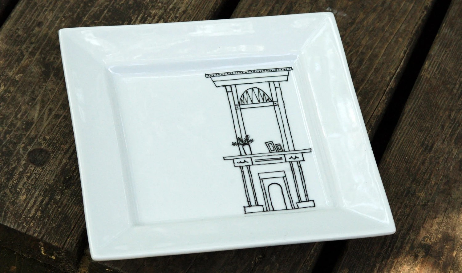 new orleans fireplace plate - porcelain - black and white hand drawn illustration