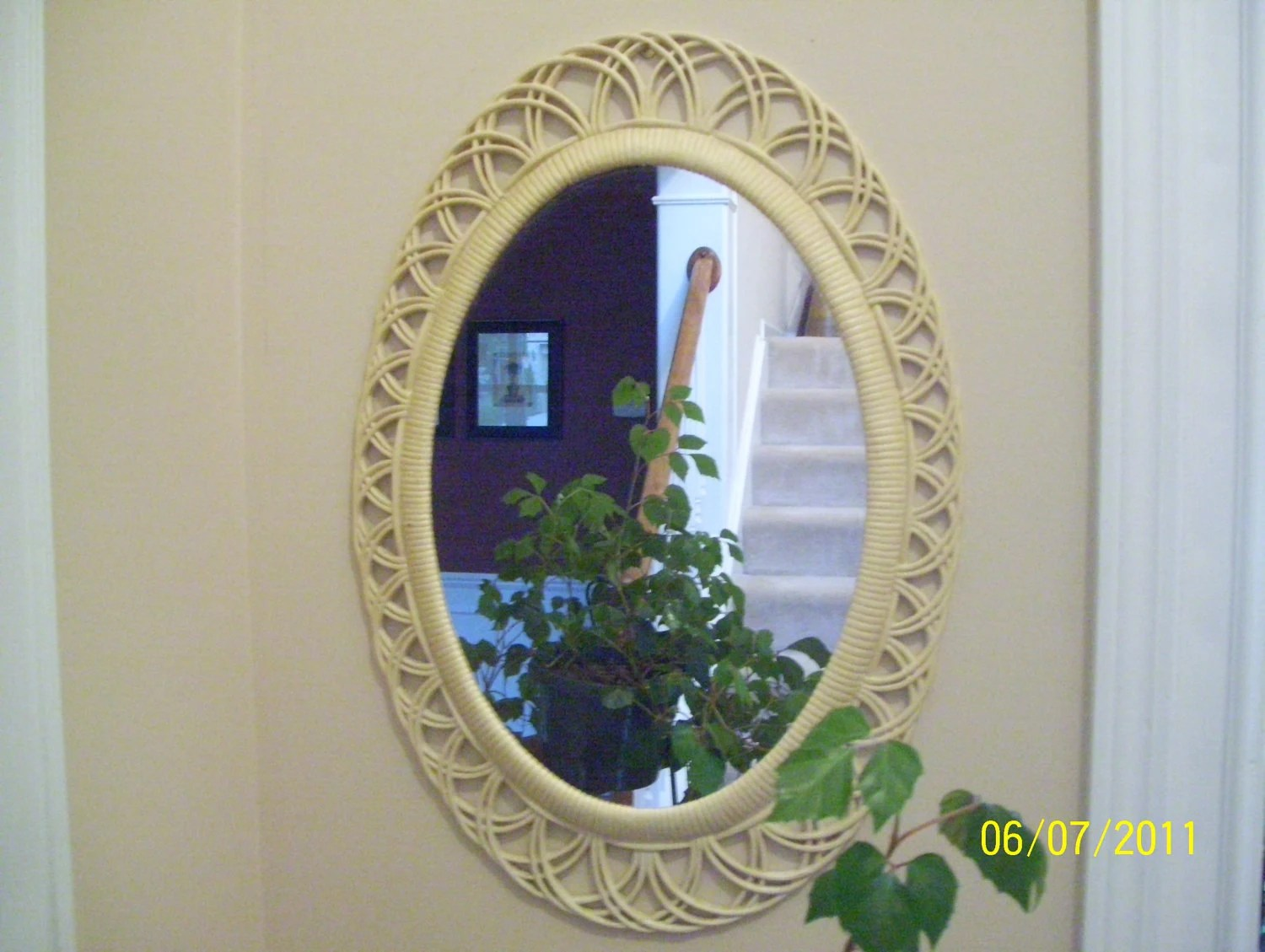 Vintage Faux Wicker Mirror Cottage Style