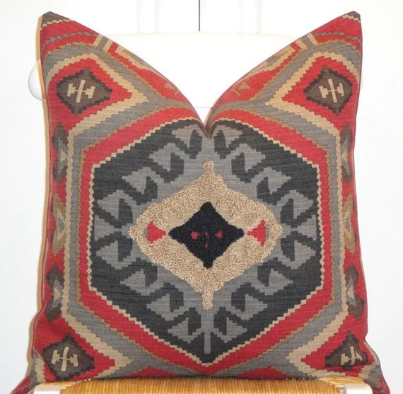 Beautiful Decorative Pillow Cover - 20x20 - Southwest Embroidery - Throw Pillow - Accent Pillow - Taupe - Gray - Blue - Khaki - Paprika